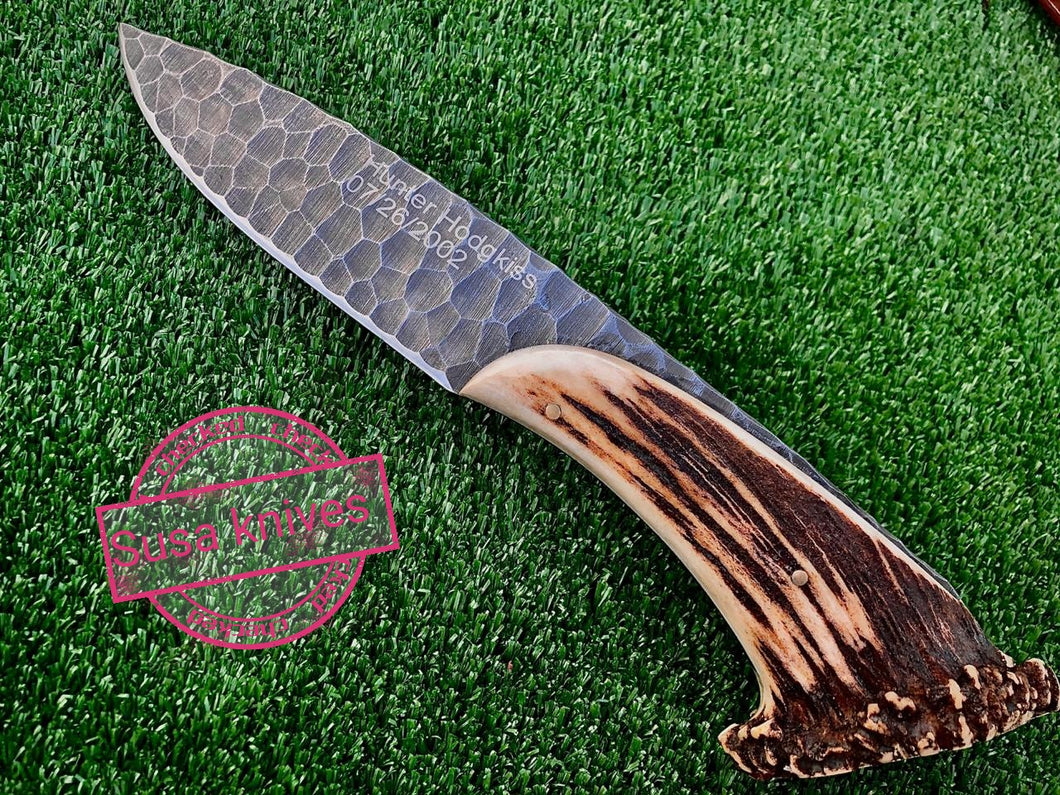 (susa knives)1095 steel hand forged blade  with antler crown handle  free engraving - SUSA KNIVES