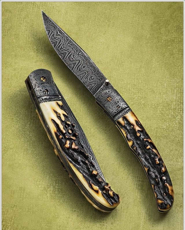 HANDMADE DAMASCUS STEEL FOLDING KNIFE - SUSA KNIVES