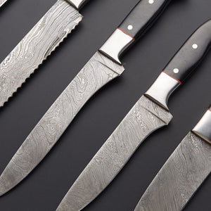 DAMASCUS CHEF/KITCHEN KNIFE 6 PCS - SUSA KNIVES