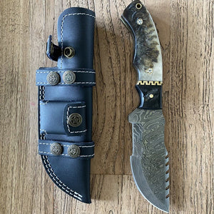 Damascus Tracker Knife Hunting Knife Sheep horn, Ladder Pattern, Blank +Sheath - SUSA KNIVES