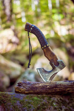 Load image into Gallery viewer, Hand Forged Custom Viking Axe with Leather Wrap on Handle Custom Norse Axe, Gift for father, anniversary gift Battle Axe - SUSA KNIVES