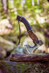 Hand Forged Custom Viking Axe with Leather Wrap on Handle Custom Norse Axe, Gift for father, anniversary gift Battle Axe - SUSA KNIVES