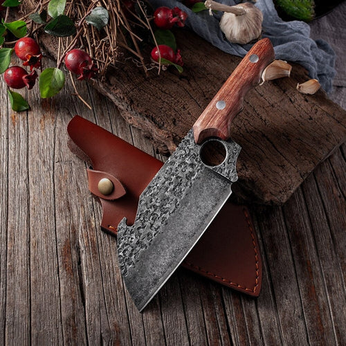 Meat Cleaver Knive - Butcher Knive Chopping kitchen chef's knife Boning Knife Best Gift - Perfect Gift for love - Free Gift Leather Sheath - SUSA KNIVES