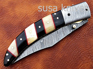 Hand Made Damascus Steel Hunting knife/Pocket Knife/Anniversary gift/gift for him/Birthday gift/gift for her - SUSA KNIVES