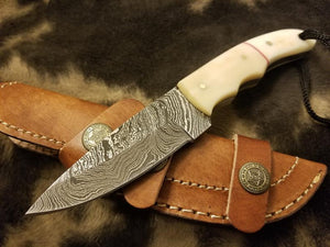 Damascus Steel Bush Craft with Bone handle - SUSA KNIVES