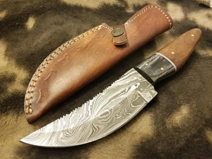 Damascus Steel Knife Fishing/Hunting/camping Tool With rose wood&Black Exotic Sheet Scale - SUSA KNIVES