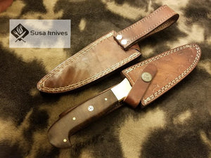 Handmade Damascus Knife with Rose wood & Brass Bolster(Finger Guard) - SUSA KNIVES