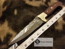 Load image into Gallery viewer, Handmade Damascus Knife with Rose wood & Brass Bolster(Finger Guard) - SUSA KNIVES