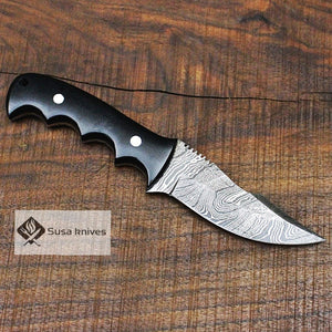 - Damascus Bushcraft Knife with Black Micarta Scales. Hunting / Camping / Survival / Fishing - SUSA KNIVES