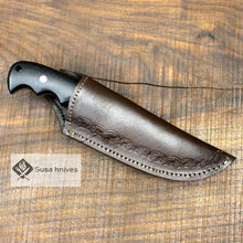 Load image into Gallery viewer, - Damascus Bushcraft Knife with Black Micarta Scales. Hunting / Camping / Survival / Fishing - SUSA KNIVES