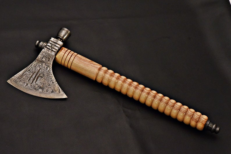 Handmade Damascus Steel Tomahawk / SK Axe with Oil Wood Handle - SUSA KNIVES