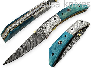 Amazing Hand Made Damascus Steel Hunting Pocket Knife/Folding Knife With Liner Lock/Christmas Gift/Anniversary Gift - SUSA KNIVES