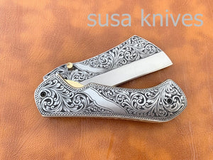 Great Gift Beautiful Newly Design Hand Made D2 Steel Hunting Engrave Pocket Knife/Folding knife With Liner Lock/valentine Gift/Gift for him - SUSA KNIVES