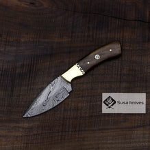 Load image into Gallery viewer, Handmade Bushcraft Damascus Knife - Hunting, Camping, Fixed Blade, Collectors Knife. Christmas, Anniversary Gift, Unique Knife, EDC, Hiking - SUSA KNIVES