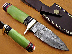 Custom Handmade Damascus Steel Fixed Blade Hunting Knife - SUSA KNIVES