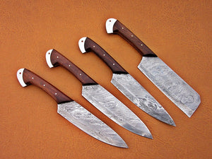 Custom Handmade Damascus Steel Fixed Blade Kitchen Chef Knife Set - SUSA KNIVES