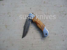 Load image into Gallery viewer, Double Inlay Folding Knife: Olive Wood and Twist Damascus Steel - SUSA KNIVES