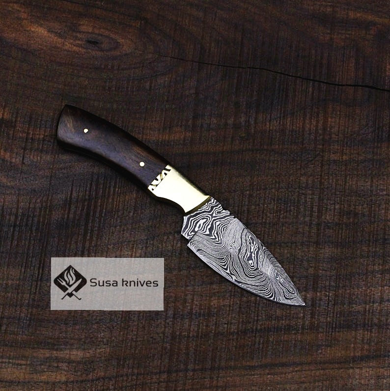 Handmade Bushcraft Damascus Knife - Hunting, Camping, Fixed Blade, Collectors Knife. Christmas, Anniversary Gift, Unique Knife, EDC, Hiking - SUSA KNIVES