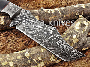 A Beautiful Custom Made Damascus Skinner Knife/Black Friday Gift/ Thanksgiving Gift/Christmas Gift - SUSA KNIVES