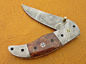 Custom Handmade Damascus Steel Folding Pocket Knife - SUSA KNIVES