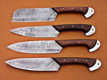 Load image into Gallery viewer, Custom Handmade Damascus Steel Fixed Blade Kitchen Chef Knife Set - SUSA KNIVES