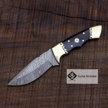 Load image into Gallery viewer, Damascus Bushcraft Knife with Buffalo Horn Scales - Hunting, Camping, Fixed Blade, Christmas, Anniversary Gift Men, Unique Knife, EDC, - SUSA KNIVES