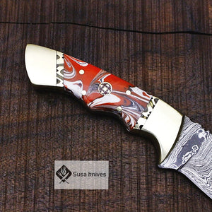 One of a Kind Damascus Bushcraft Knife w Acrylic Scales - Hunting, Camping, Fixed Blade, Christmas, Anniversary Gift Men, Unique Knife, - SUSA KNIVES