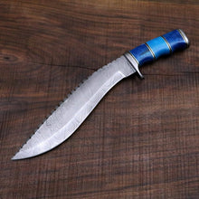 Load image into Gallery viewer, Seven seas Gurkha / Kukri Knife in Damascus Steel and Blue Dyed Camel Bone Handle - Camping / Machete / Hunting Knife / Unique Knife / Bowie - SUSA KNIVES
