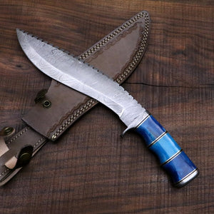 Seven seas Gurkha / Kukri Knife in Damascus Steel and Blue Dyed Camel Bone Handle - Camping / Machete / Hunting Knife / Unique Knife / Bowie - SUSA KNIVES