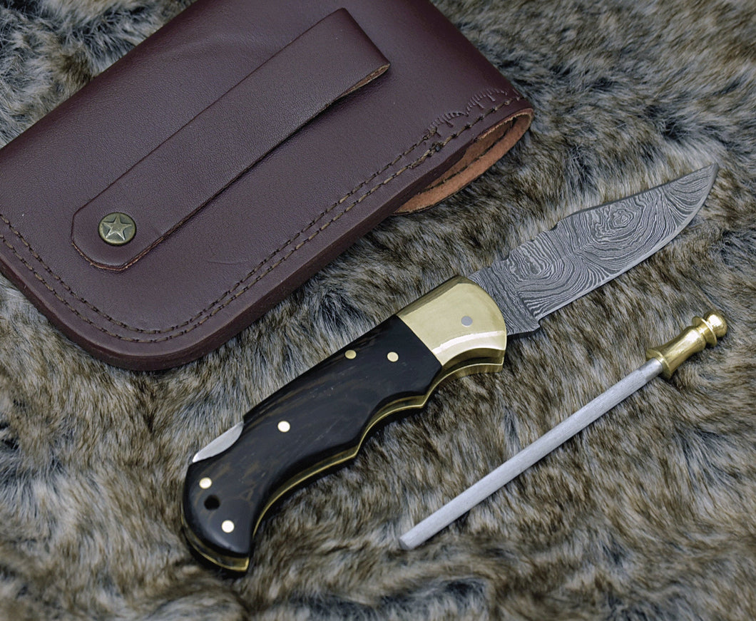 DAMASCUS FOLDING KNIFE, DAMASCUS POCKET KNIFE, CUSTOM DAMASCUS FOLDER, CLIP POINT BLADE, LOCK BACK FOLDING KNIFE, EXOTIC WENGE WOOD SCALES, HAND CARVED SPINE, LANYARD HOLE, HAND STITCHED LEATHER SHEATH - SUSA KNIVES