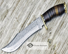 "Load image into Gallery viewer, DAMASCUS KNIFE, DAMASCUS STEEL KNIFE, 14"", DAMASCUS STEEL TRAILING POINT BLADE, WALNUT WOOD INLAY HANDLE - SUSA KNIVES"