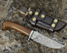 "Load image into Gallery viewer, DAMASCUS STEEL BOWIE KNIFE, 10.0"", DAMASCUS STEEL STRAIGHT BACK BLADE, HIGHLY FIGURED BOLIVIAN ROSE WOOD, DAMASCUS GUARD, FIXED BLADE, FULL TANG, HAND STITCHED LEATHER SHEATH - SUSA KNIVES"