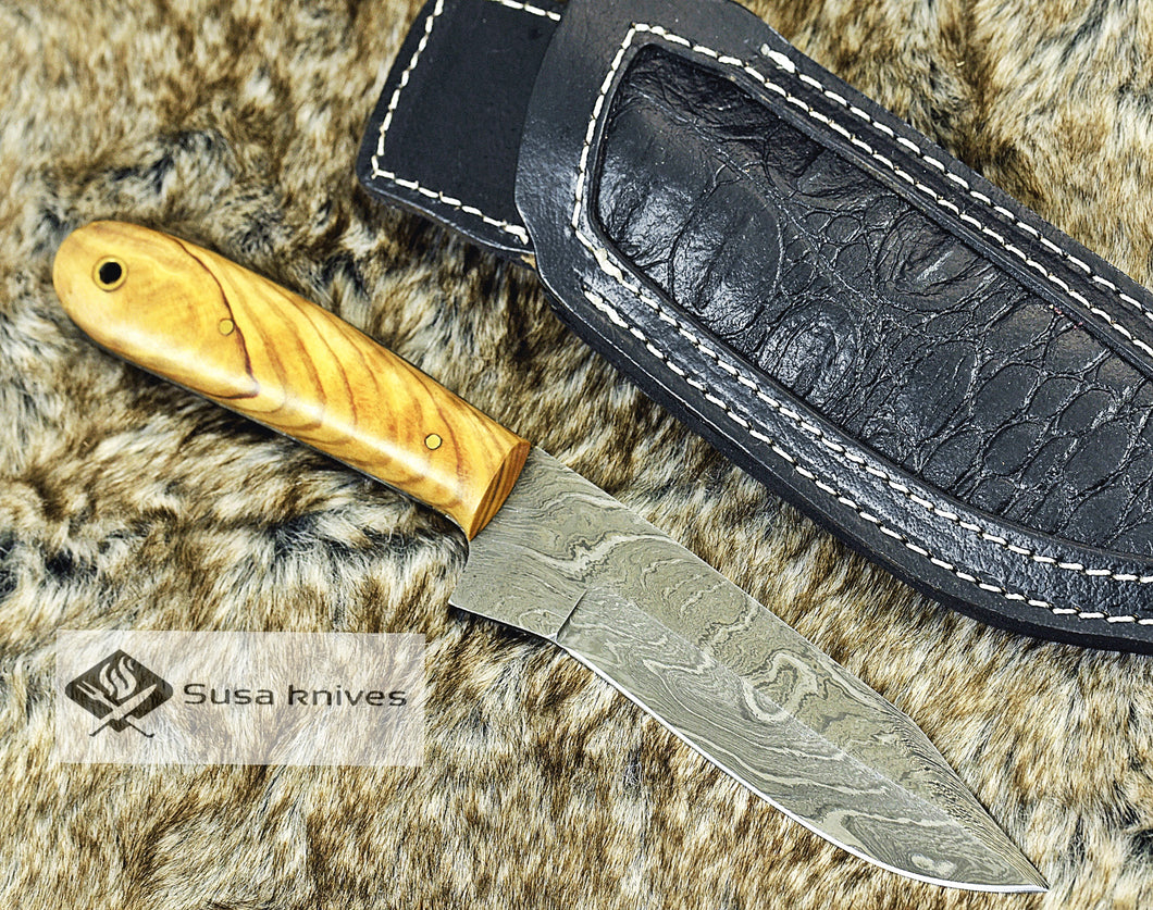 DAMASCUS KNIFE, CUSTOM DAMASCUS STEEL KNIFE, DAMASCUS STEEL CLIP POINT BLADE, 9