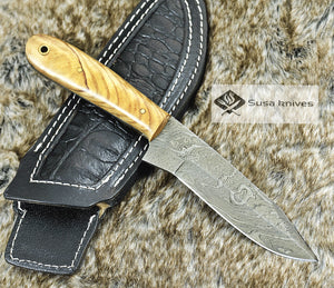 "DAMASCUS KNIFE, CUSTOM DAMASCUS STEEL KNIFE, DAMASCUS STEEL CLIP POINT BLADE, 9"", EXOTIC OLIVE WOOD HANDLE, LANYARD HOLE, FULL TANG - SUSA KNIVES"