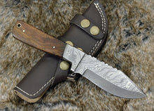 "Load image into Gallery viewer, DAMASCUS KNIFE, DAMASCUS STEEL SKINNING KNIFE, 9"", DAMASCUS STEEL CLIP POINT BLADE, EXOTIC ROSE WOOD HANDLE, FIXED BLADE, INCLUDES HAND STITCHED SHEATH - SUSA KNIVES"