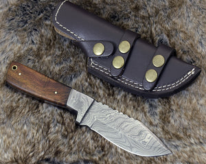 "DAMASCUS KNIFE, DAMASCUS STEEL SKINNING KNIFE, 9"", DAMASCUS STEEL CLIP POINT BLADE, EXOTIC ROSE WOOD HANDLE, FIXED BLADE, INCLUDES HAND STITCHED SHEATH - SUSA KNIVES"