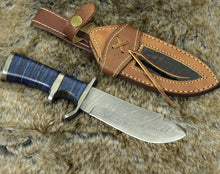 "Load image into Gallery viewer, DAMASCUS KNIFE, DAMASCUS STEEL HUNTING KNIFE, 9"", DAMASCUS STEEL CLIP POINT BLADE, G10 FIBER COMPOSITE HANDLE, FIXED BLADE, HUNTING KNIFE, CUSTOM LEATHER SHEATH - SUSA KNIVES"