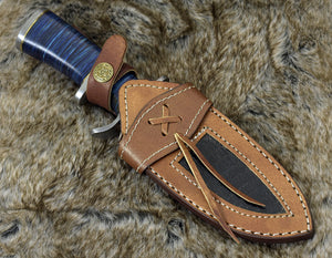 "DAMASCUS KNIFE, DAMASCUS STEEL HUNTING KNIFE, 9"", DAMASCUS STEEL CLIP POINT BLADE, G10 FIBER COMPOSITE HANDLE, FIXED BLADE, HUNTING KNIFE, CUSTOM LEATHER SHEATH - SUSA KNIVES"
