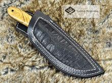 "Load image into Gallery viewer, DAMASCUS KNIFE, CUSTOM DAMASCUS STEEL KNIFE, DAMASCUS STEEL CLIP POINT BLADE, 9"", EXOTIC OLIVE WOOD HANDLE, LANYARD HOLE, FULL TANG - SUSA KNIVES"