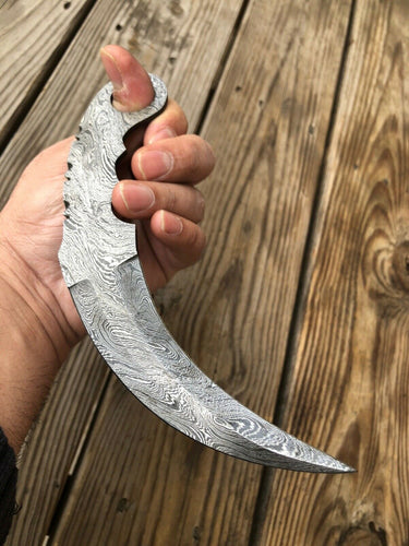 Custom HAND FORGED DAMASCUS STEEL Karambit BLADE FULL TANG - SUSA KNIVES