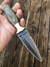 Load image into Gallery viewer, HAND FORGED DAMASCUS STEEL Dagger Boot Knife W/ Dye Bone & Brass Bolster Handle - SUSA KNIVES