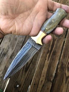 HAND FORGED DAMASCUS STEEL Dagger Boot Knife W/ Dye Bone & Brass Bolster Handle - SUSA KNIVES