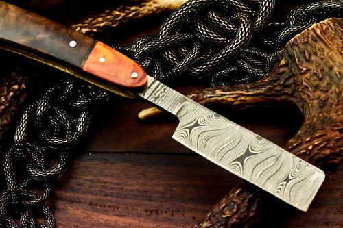 Custom Handmade Damascus Steel Blade Barber Folding Razor | Hard Wood - SUSA KNIVES