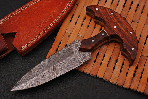 CUSTOM HAND FORGED DAMASCUS COMBAT DAGGER KNIFE w/rose wood handle - SUSA KNIVES