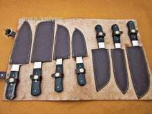 Load image into Gallery viewer, CUSTOM HANDMADE DAMASCUS STEEL CHEF SET/KITCHEN KNIVES 7 PCS ,BUFFALO HORN - SUSA KNIVES