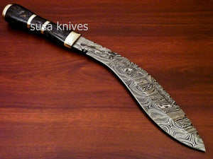 Custom Handmade Damascus Steel Kukri Knife[Sheath] Hard Wood Handle - SUSA KNIVES