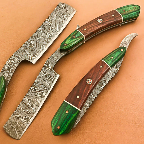 Superb Custom Damascus Steel Folding Handmade Sharp Blade Razors Natural Wood - SUSA KNIVES