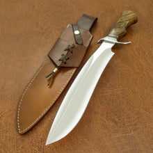 Load image into Gallery viewer, Beautiful Custom Handmade D2 Steel Hunting Knife | Sheath | Roise Wood Handle - SUSA KNIVES