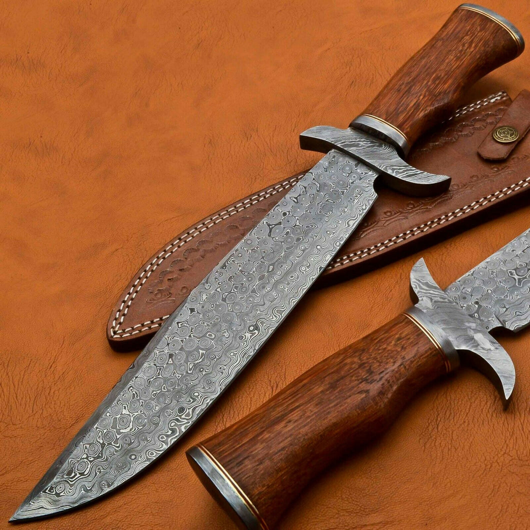 HANDMADE DAMASCUS STEEL HUNTING BOWIE/DAGGER KNIFE HANDLE ROSE WOOD - SUSA KNIVES