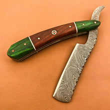 Load image into Gallery viewer, Superb Custom Damascus Steel Folding Handmade Sharp Blade Razors Natural Wood - SUSA KNIVES